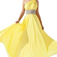 Emma Y Gorgeous One-shoulder Chiffon Formal Evening Dresses Maxi