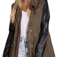 Brown Rain Jacket w/ Long Black Pleatherette Sleeves