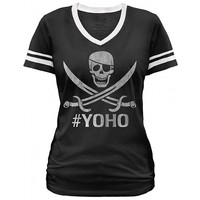 "Women's ""YOHO'"" Football Tee by Goodie Two Sleeves (Black)"