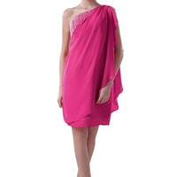 Emma Y Unique One-shoulder Homecoming Dresses Cocktail Gown Chiffon