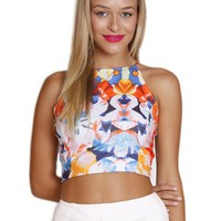 Multicolor Sleeveless Floral Print Crop Top