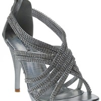 Delicacy 01 Womens Rhinestone Event Dress Sandals Silver