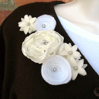 Wedding Winter White Floral Brooch, Corsage Fashion Pin, Floral Jewelry