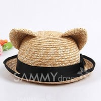 Sweet Hemming Embellished Cat Ears Shape Straw Hat For Women