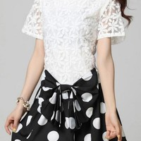 White & Black Crochet Short Sleeve Dress w/ Polka Dot Bow Sk