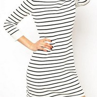 Black & White Striped Mini Dress w/ Lace Collar & 3/4 Sleeve