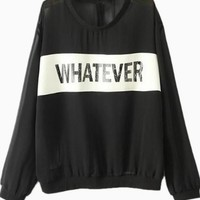 Black Long Sleeve Graphic 'Whatever' Top w/ Sheer Back