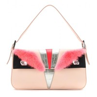 BAG BUGS LEATHER AND MINK FUR BAGUETTE SHOULDER BAG