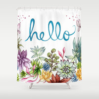 hello spring Shower Curtain by Brooke Weeber | Society6