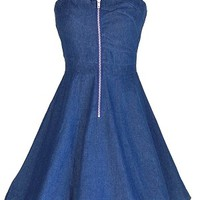 Blue Denim Strapless Swing Dress