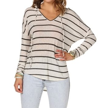 OatmealCharcoal Stripe Hooded Sweatshirt