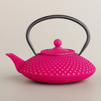 Fuchsia Hobnail Cast Iron Teapot - World Market