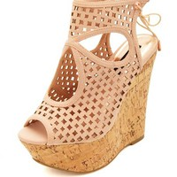 Laser Cut-Out Peep Toe Platform Wedges
