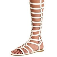 Studded Knee-High Gladiator Sandals