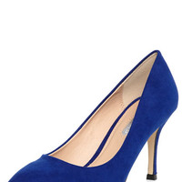Cobalt Pointed Mid Heel Court Shoes