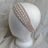 Spring crochet head band Summer organic  cotton hair band Off white hair accessory for ladies teens or girlshandmade