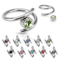 316L Surgical Steel Ear Cartilage Helix Rook Tragus Jewelry Twister Ring CLEAR COLORED 16G