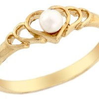 14k Solid Yellow Gold Freshwater Pearl Heart Promise Ring Jewelry