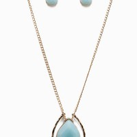Teardrop and Cab Metal Pendant Long Neck