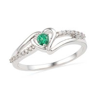 Lab-Created Emerald and Diamond Accent Heart Ring in Sterling Silver - View All Rings - Zales