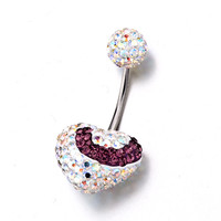316 L Surgical Steel February Birthstone Shining White Ball And Heart Belly Navel Rings, Body Jewelry, New Year Deals | Pugster.com