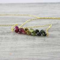 Tourmaline Gemstone Necklace, Gold Fill Necklace, Dark Green Necklace, October Birthstone, Dark Pink Necklace, Gemstone Bar Necklace