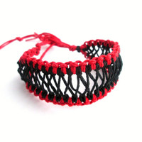 Hemp Bracelet Red and Black Corset Style Womens Hemp Jewelry Eco-Friendly Tie-On