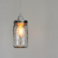 MASON JAR PENDANT Lamp - Upcycled Hanging Lighting Fixture Featuring a Wide Mouth Quart Canning Jar - Modern Home Decor -  BootsNGus Lamps