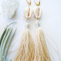 Cowry Shell Tassel Earrings - Summer Wear - Textile - Fiber - Long Dangle Earrings