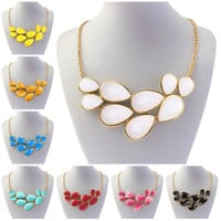 Fashion Gold ChainChunky Teardrop Necklace Bubble Bib Statement Necklace Pendant