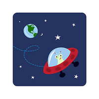 Cute alien in space with planet earth and stars, wall art for children