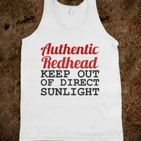 AUTHENTIC REDHEAD KEEP OUT OF DIRECT SUNLIGHT - glamfoxx.com - Skreened T-shirts, Organic Shirts, Hoodies, Kids Tees, Baby One-Pieces and Tote Bags