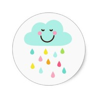 Cute happy cloud with colorful raindrops