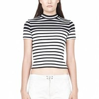 Ink And White Cotton Rib Cropped Tee - Alexander Wang