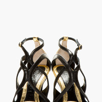 BLACK & GOLD LEATHER SKINNY SANDALS
