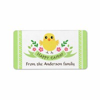 Cute chicken and flowers personalized Happy Easter label