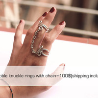Wholesale Double knuckle ring with chain by pureshapes on Etsy