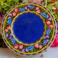 Antique Wedgwood Porcelain Dinner Plate W964 Fruit ~ Blue Center ~ Gold Rim