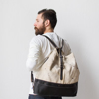 Reclaimed Canvas Leather Backpack [Ferrous and Hide Backpack] : ORN HANSEN, Vintage + American Made General Store