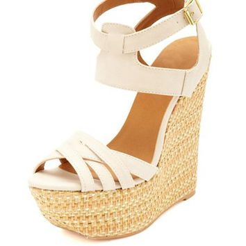 CRISSCROSSING ANKLE CUFF WOVEN WEDGE SANDALS