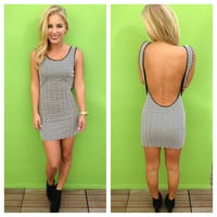 Black & White Chevron Low Back Mini Dress