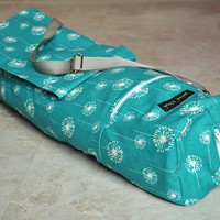 yoga and pilates mat bag -- bright teal and white dandelion patterned with zipper and adjustable strap