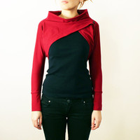 Womens Dark Red Cotton Jersey Long Sleeve Shrug by bevisible