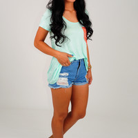 Pocket Full Of Lace Top: Light Mint