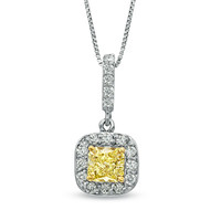 5/8 CT. T.W. Enhanced Yellow and White Diamond Drop Pendant in 14K White Gold - View All Necklaces - Zales