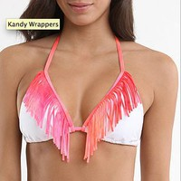 Kandy Wrappers Fringe Triangle Top - PacSun.com