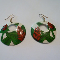 Vintage Red Flower Enamel Earrings White Painted Disk Dangle Costume Jewelry 1970s