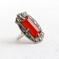 Vintage Art Deco Red Stone & Marcasite Ring - Antique Size 4 1930s Sterling Silver Shield Flapper Jewelry