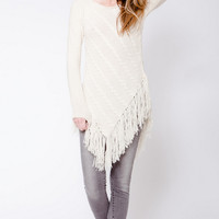 Fringe Asymmetric Sweater — Bib + Tuck