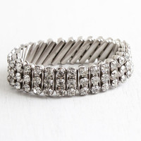 Vintage Clear Rhinestone Bracelet - 1950s Expansion Stretchy Silver Tone Bridal Costume Jewelry